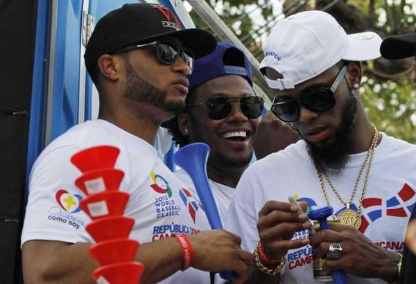 Dominican Republic baseball players, from left, Robinson Cano,
