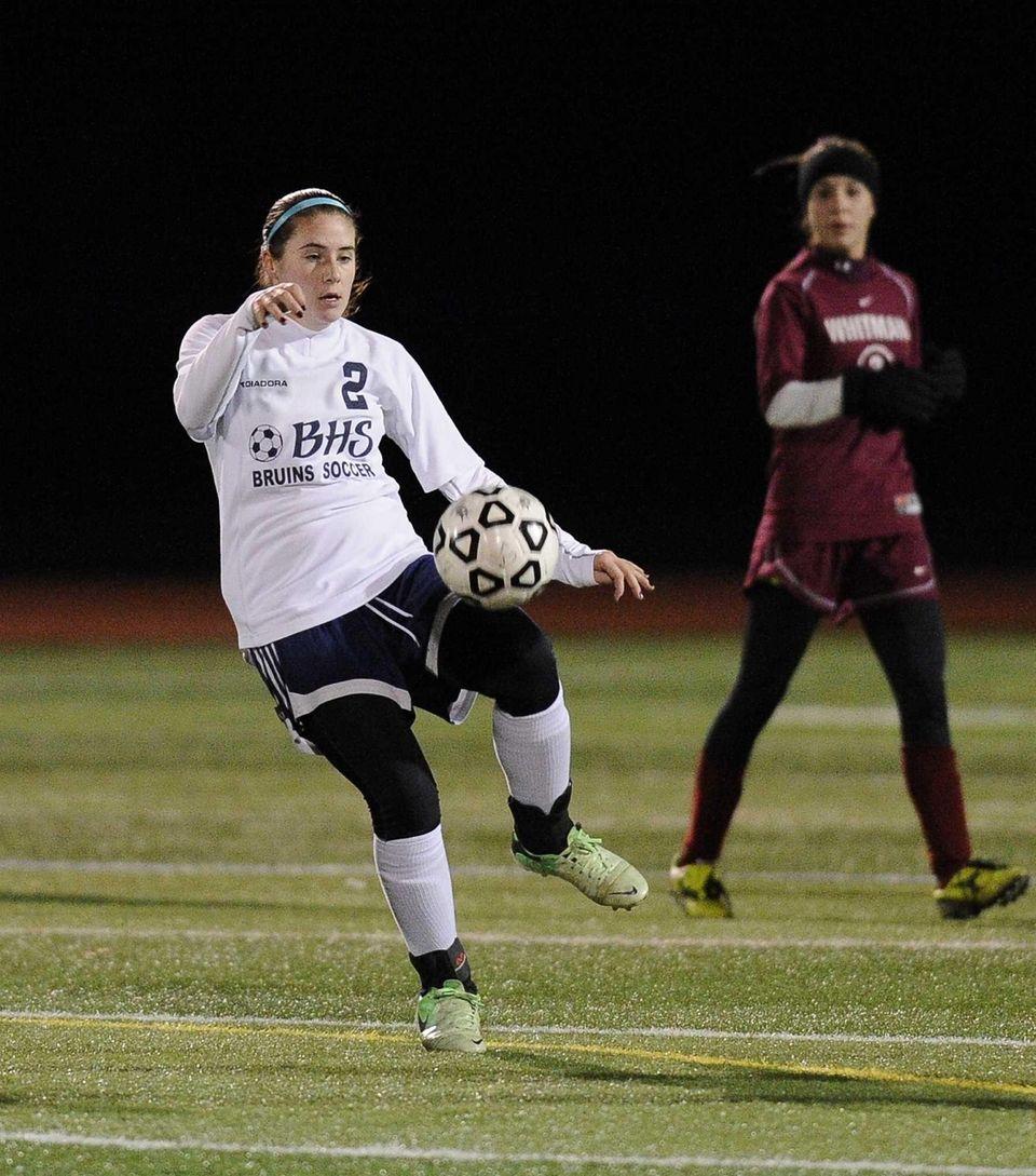 Nassau County's Alyssa Gangi traps the ball against