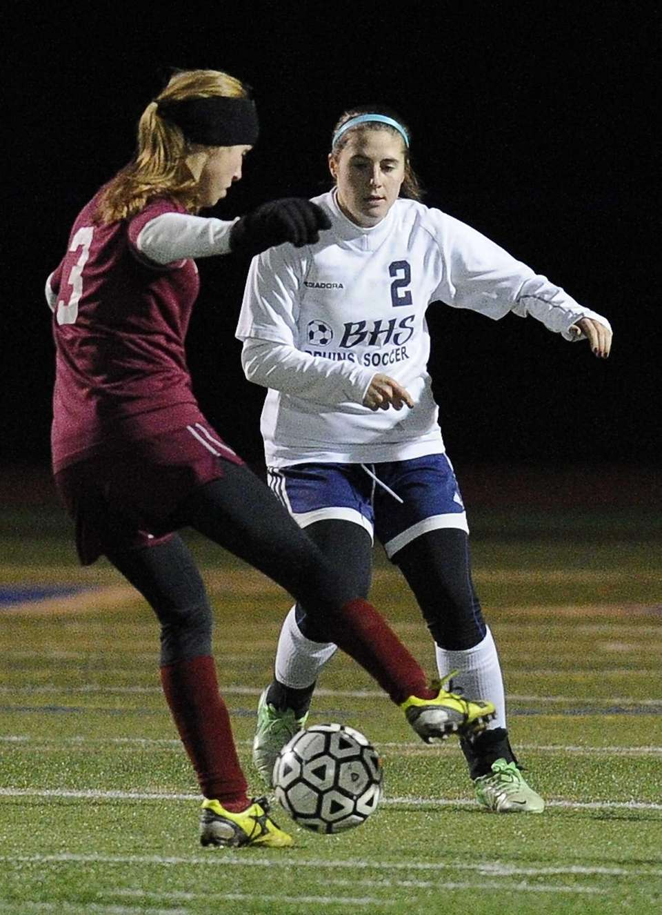 Nassau County's Alyssa Gangi defends against Suffolk County.