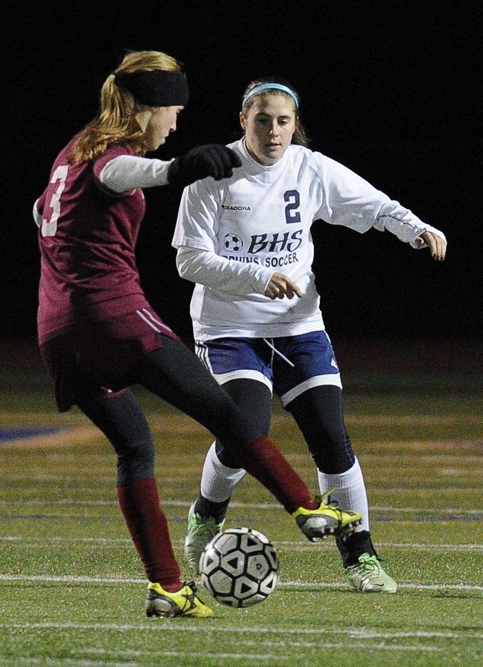 Nassau County's Alyssa Gangi defends against Suffolk County.