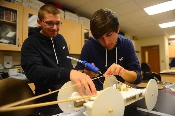 Hofstra first year engineering students Steven Schweiger, left,