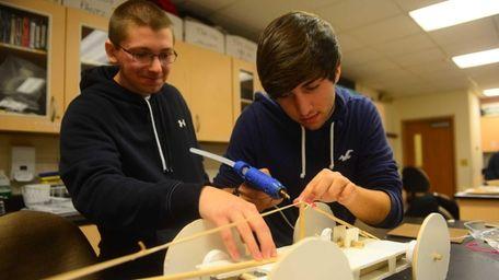 Hofstra first year engineering students Steven Schweiger, left,