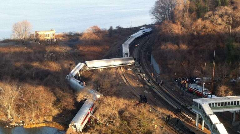 Cars of a Metro-North train that left the