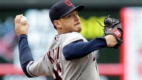 Cleveland Indians pitcher Scott Kazmir throws against the