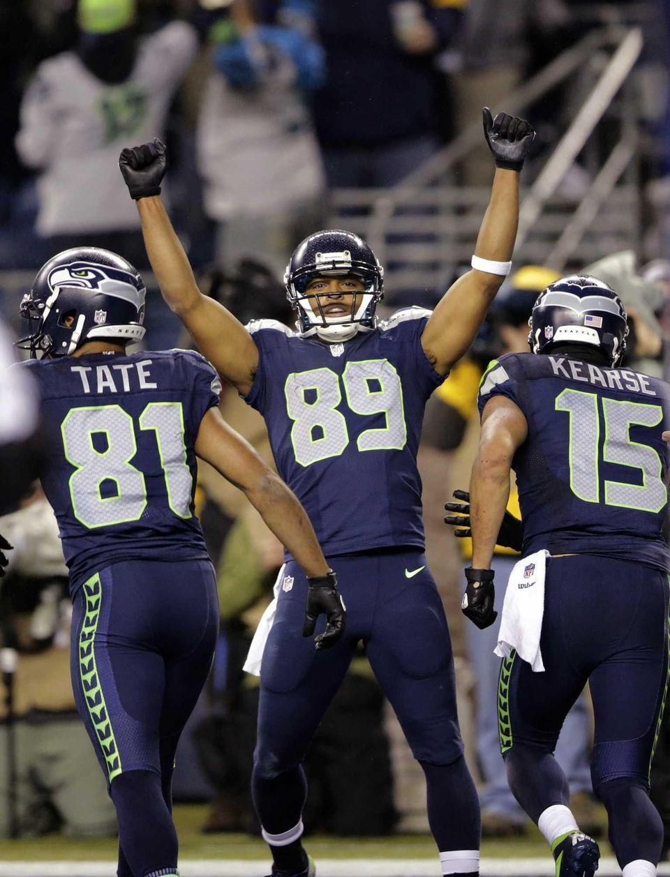 Seattle Seahawks wide receiver Doug Baldwin celebrates after