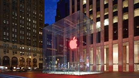 The New York City Apple store is pictured