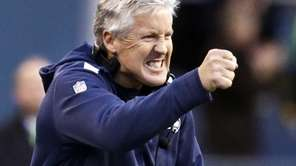 Seattle Seahawks head coach Pete Carroll reacting to