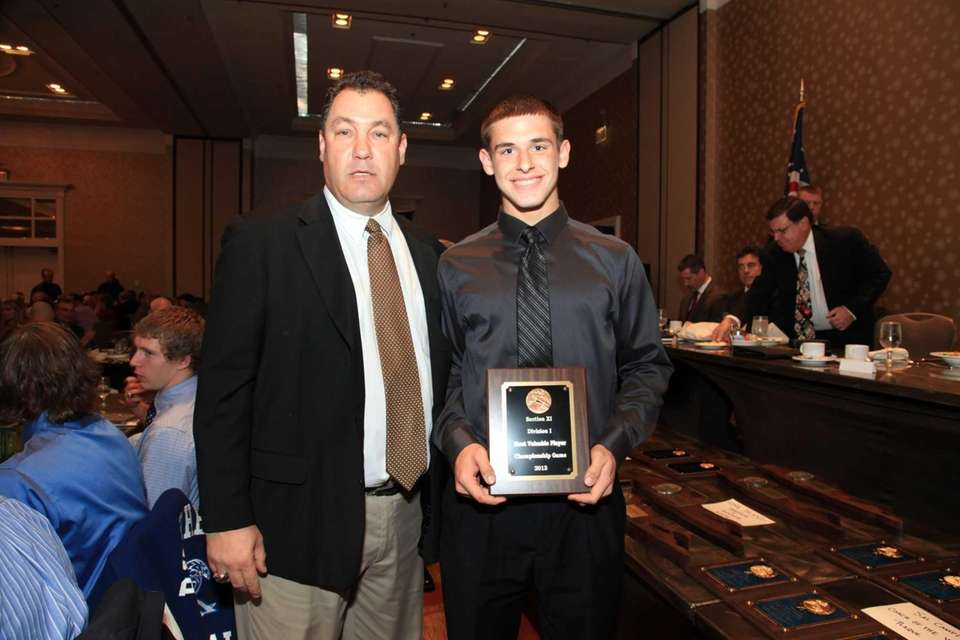 From Left;Coach Dave Falco presents Chris Baroque of
