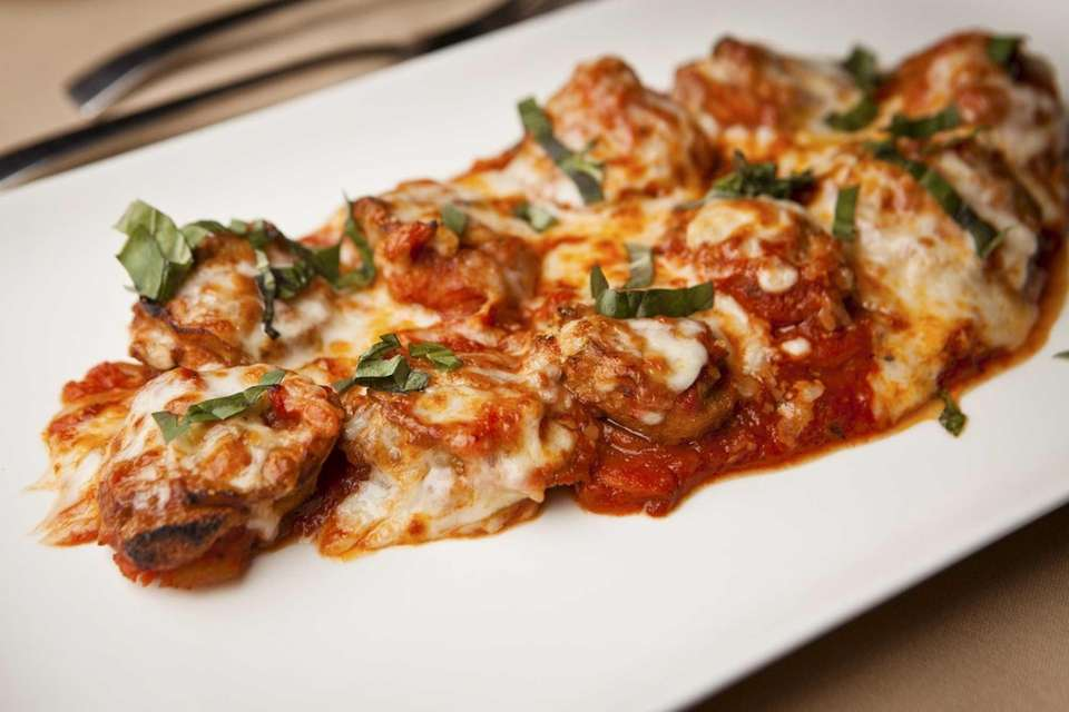 Stuffed eggplant medallions make a commendable appetizer at