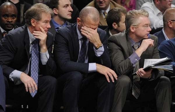 Nets head coach Jason Kidd, center, reacts in