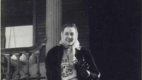Flannery O'Connor in Iowa City, 1947, in a