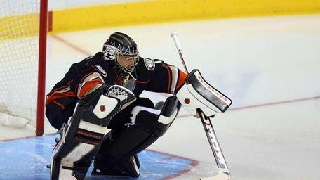 Jonas Hiller of the Anaheim Ducks in goal