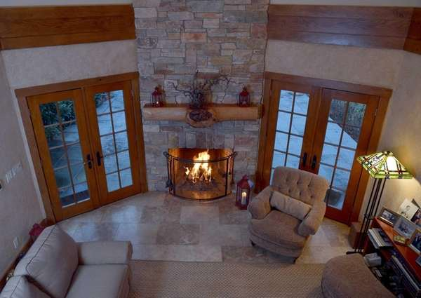 The fireplace in this Smithtown home, on the