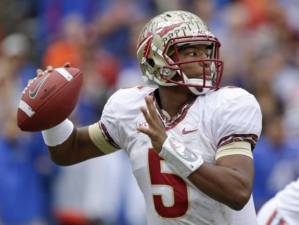 Florida State quarterback Jameis Winston looks for a