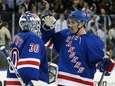 Henrik Lundqvist #30 and Ryan McDonagh #27 celebrate