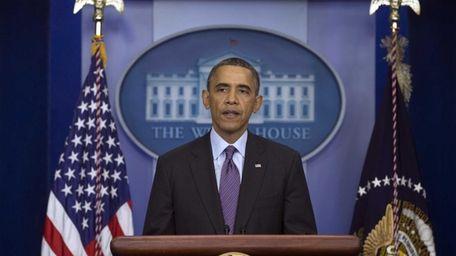 President Barack Obama speaks in the briefing room