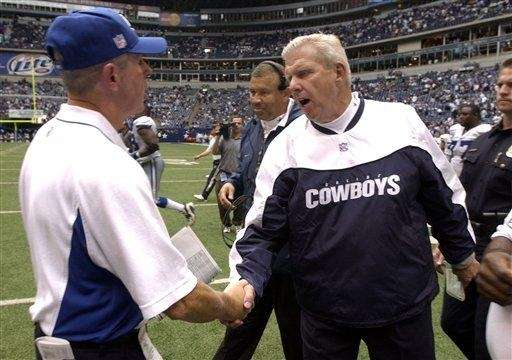 Dallas Cowboys coach Bill Parcells, right, shakes hands