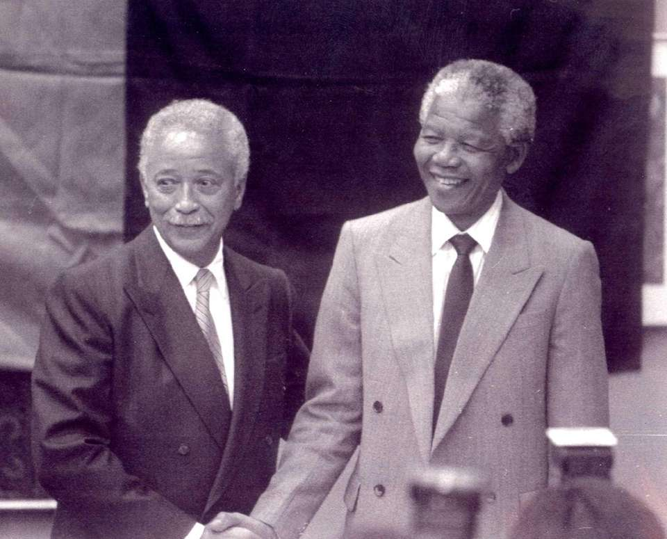 Mandela was greeted warmly by Mayor David Dinkins