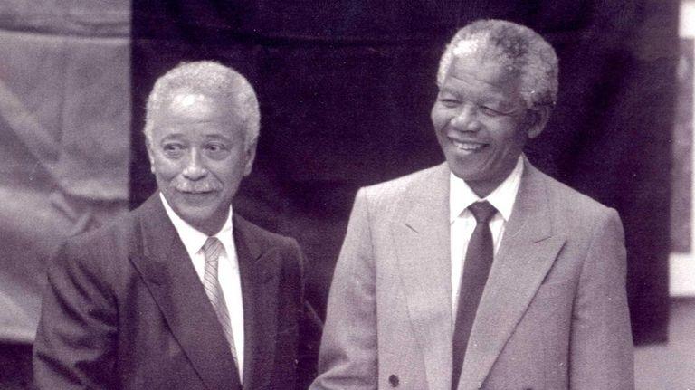 Mandela was greeted warmly by Mayor David Dinkins