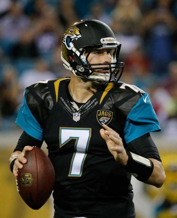 Jacksonville Jaguars quarterback Chad Henne attempts a pass