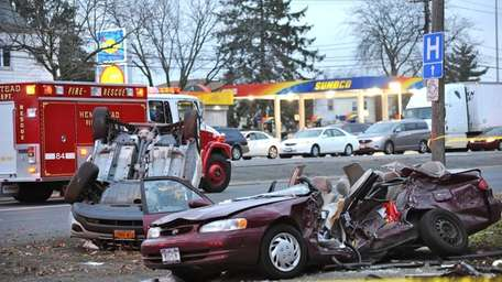 The scene of a fatal accident in Hempstead