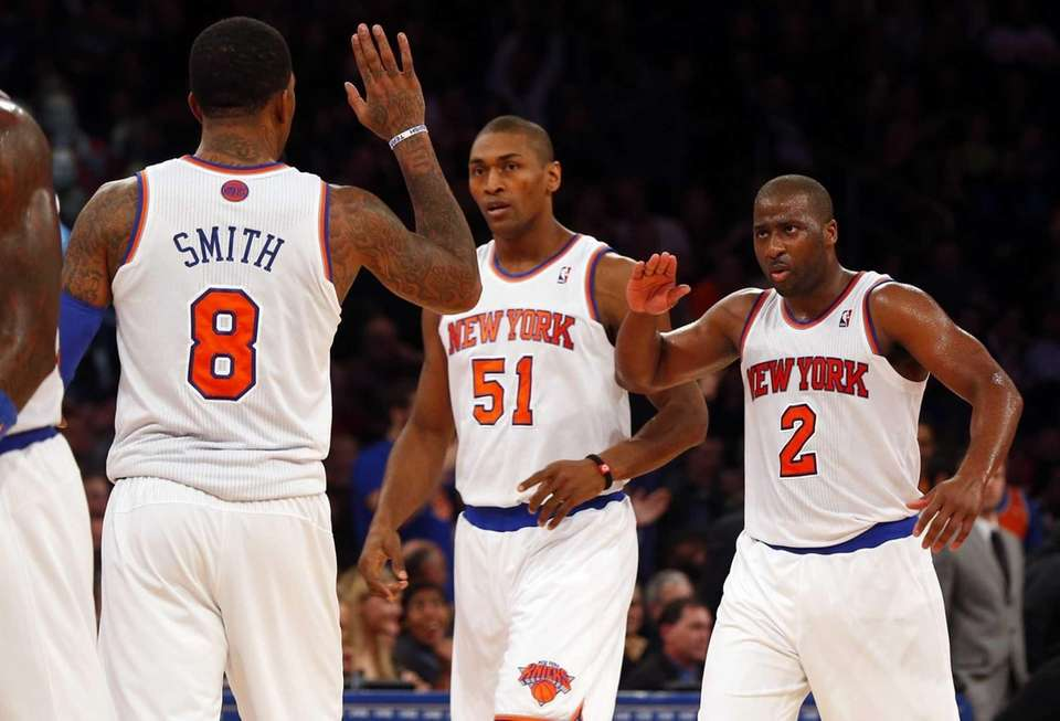 J.R. Smith of the Knicks celebrates after hitting