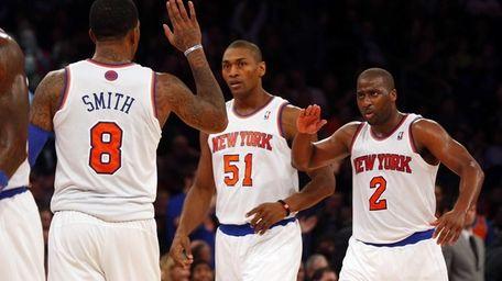 J.R. Smith of the Knicks celebrates after hitting