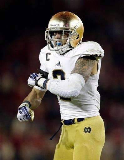 Notre Dame cornerback Bennett Jackson celebrates an interception