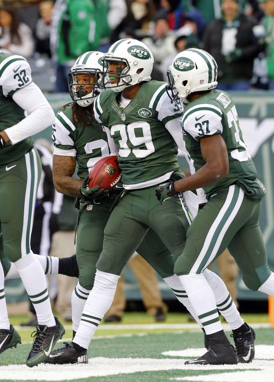 Antonio Allen celebrates his touchdown after recovering his