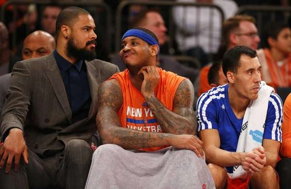 From left, Tyson Chandler, Carmelo Anthony and Pablo