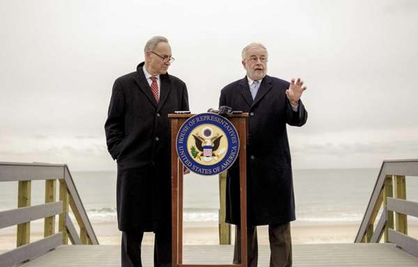 Senator Charles Schumer, left, and Congressman Tim Bishop