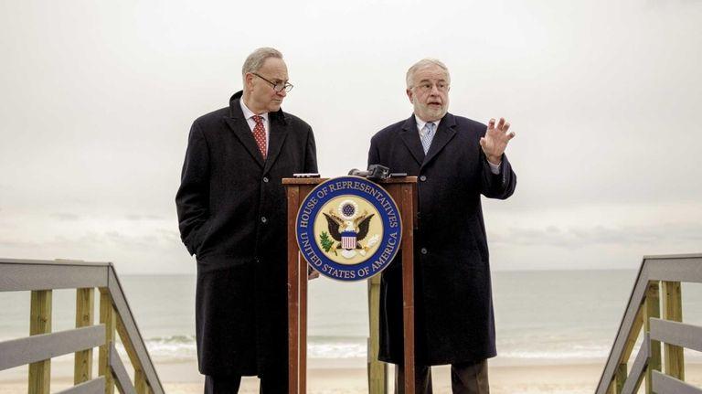 Senator Charles Schumer, left, and Congressman Tim Bishop