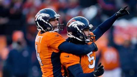Denver Broncos place kicker Matt Prater celebrates a