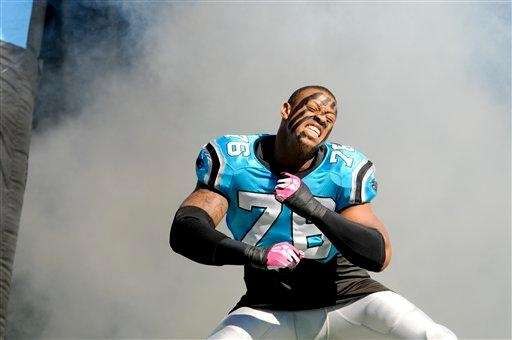 Carolina Panthers defensive end Greg Hardy (76) is