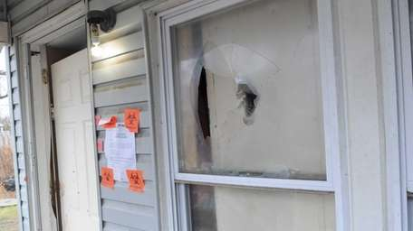 A bullet hole in the Eastport home where
