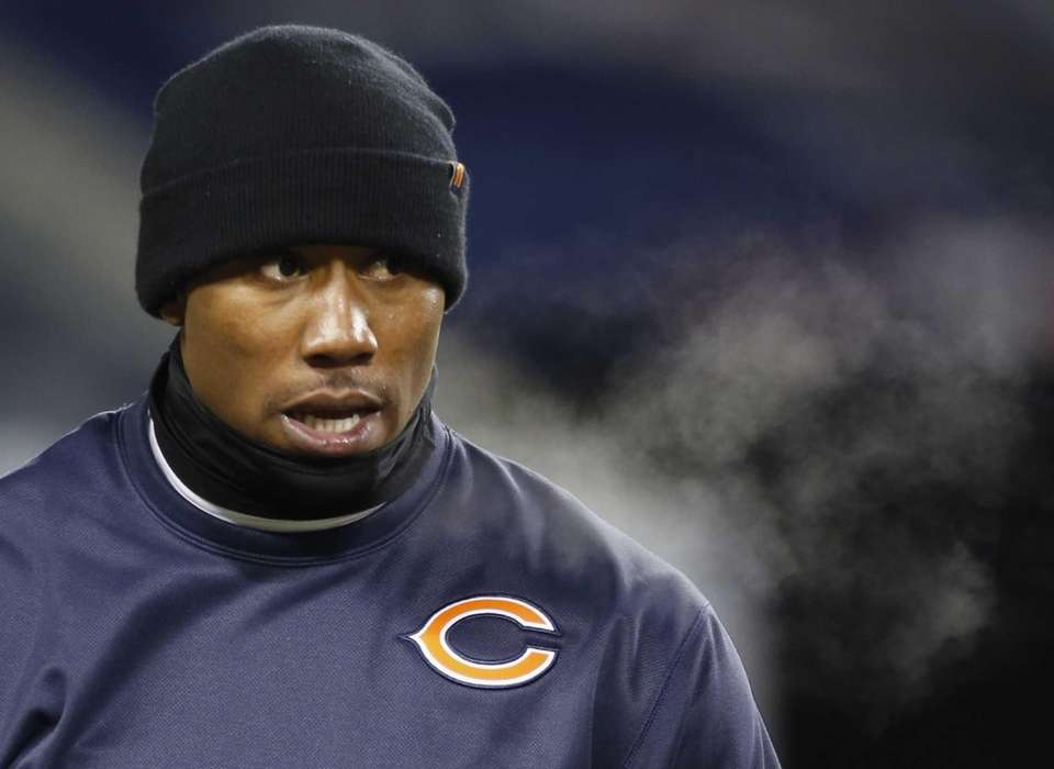 Chicago Bears wide receiver Brandon Marshall is bundled