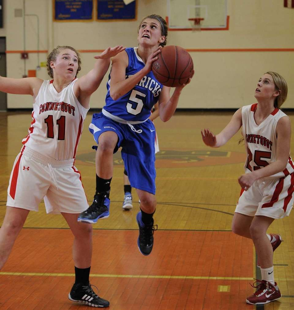 Herricks guard Bridget Stacom splits her Connetquot defenders