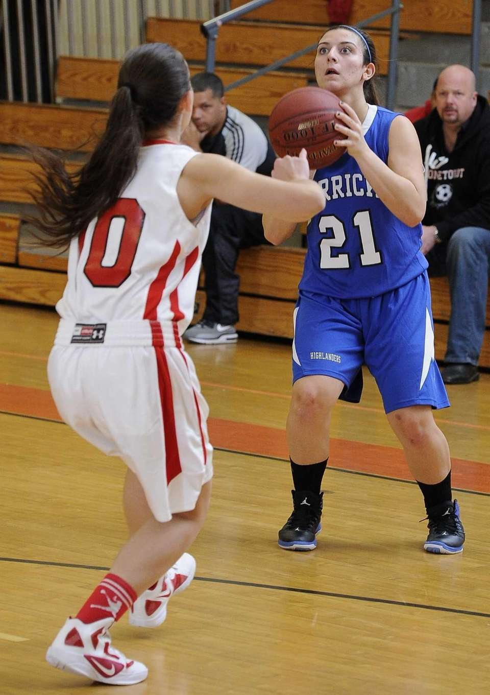Herricks guard Barbara Nictas shoots a three-pointer against