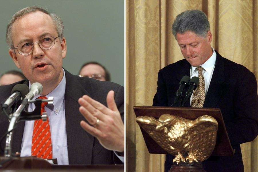 1998: Special prosecutor Kenneth Starr and President Bill