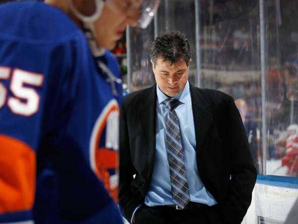 Jack Capuano leaves the ice following a 5-0