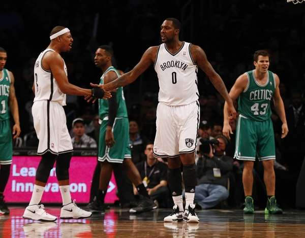 Andray Blatche and Paul Pierce of the Nets