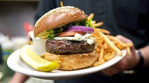 The gargantuan burger at PeraBell in Patchogue, seen