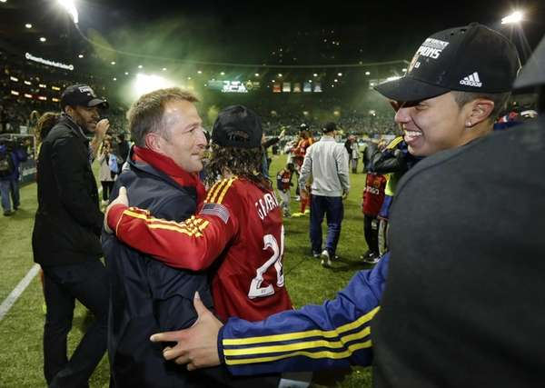 Real Salt Lake head coach Jason Kreis, left,