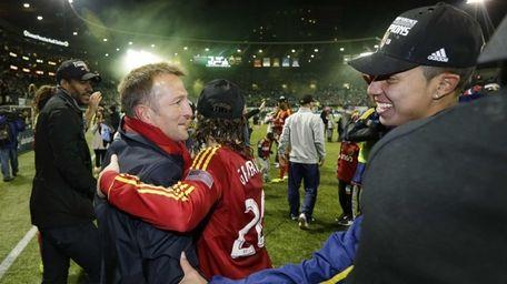 Real Salt Lake head coach Jason Kreis, left,