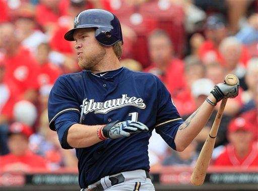 The Milwaukee Brewers' Corey Hart bats against the