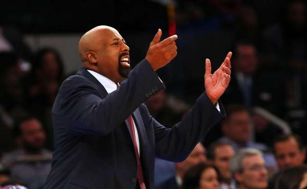 Head coach Mike Woodson of the Knicks reacts