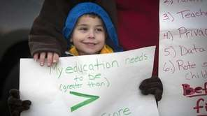 East Meadow student Christopher Amodeo, 5, with his