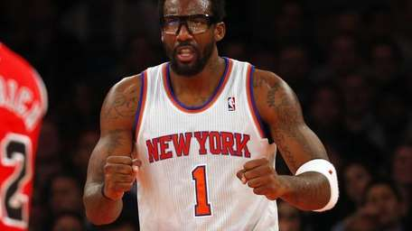 Amar'e Stoudemire of the Knicks reacts after a