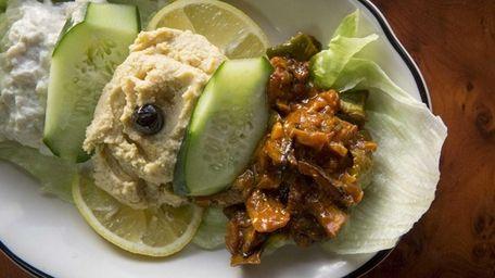 An appetizer platter at Mekan Gyro & Grill