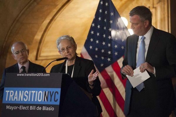 New York City Mayor-elect Bill de Blasio, right,